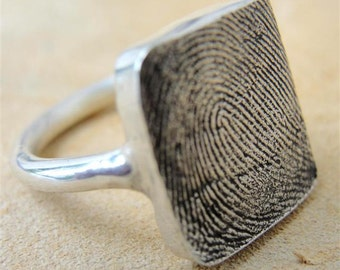 Fingerprint Ring Custom Thumbprint Jewelry Sterling Silver Personalized