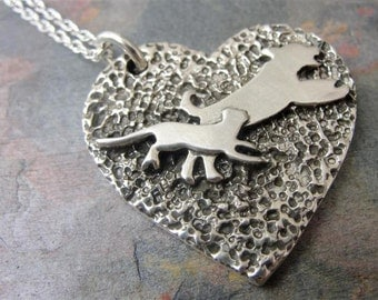 Dog Cat Heart Necklace Sterling Silver Pet Nose