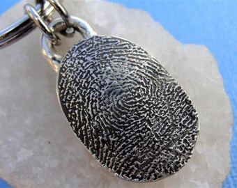 Fingerprint Keychain Jewelry Thumbprint Key Chain in Sterling Silver Personalized