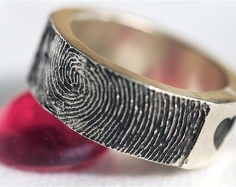 Fingerprint Ring Personalized  Mothers Valentines Sterling Silver Jewelry
