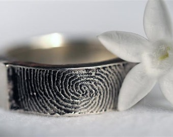 Fingerprint Ring Personalized  Heart Wedding Band Sterling Silver Jewelry