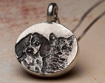 Custom Dog Portrait Necklace Pet Portrait Personalized Sterling Silver