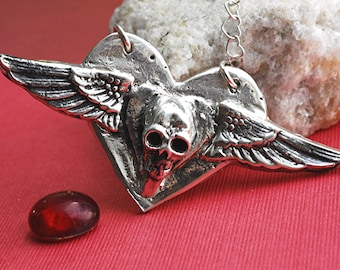 Skull Heart Necklace Jewelry Wings Sterling Silver