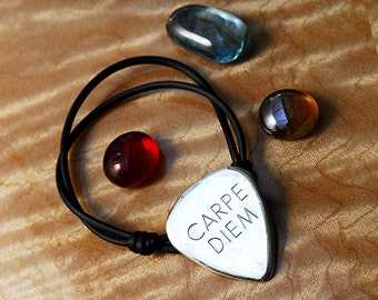 Guitar Pick Bracelet Personalized Carpe Diem