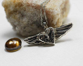 Heart Wings Necklace in Sterling Silver