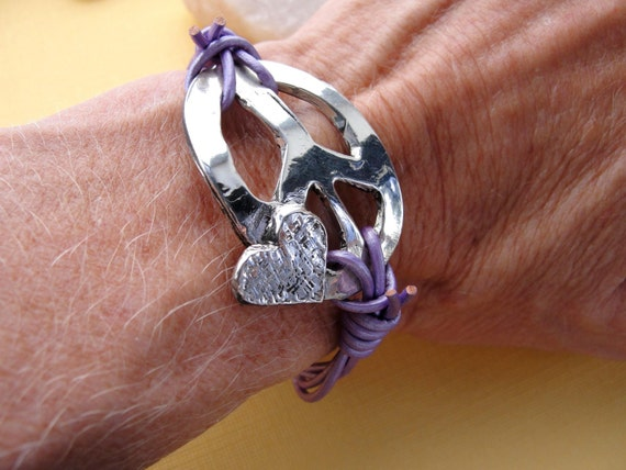 Sterling Silver Peace Sign Bracelet on Lilac Leather