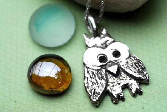 Owl Necklace Sterling Silver Cute Hootie Owl