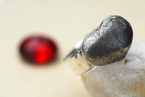 Fingerprint Heart Ring Thumbprint in Sterling Silver