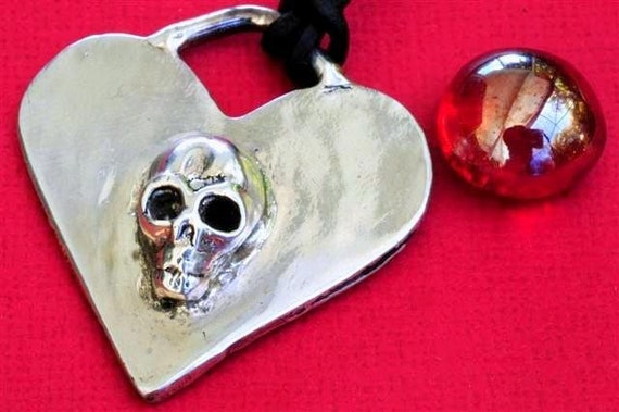 Skull Jewelry Necklace Heart Sterling Silver Halloween