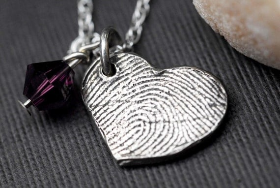Custom Fingerprint Jewelry  Heart Necklace Personalized Sterling Silver