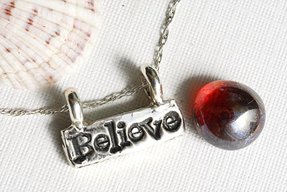 Believe Word Necklace Silver in Sterling Silver