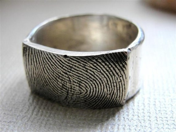 Fingerprint  Custom Thumbprint Ring  Wedding Band Jewelry in Sterling Silver