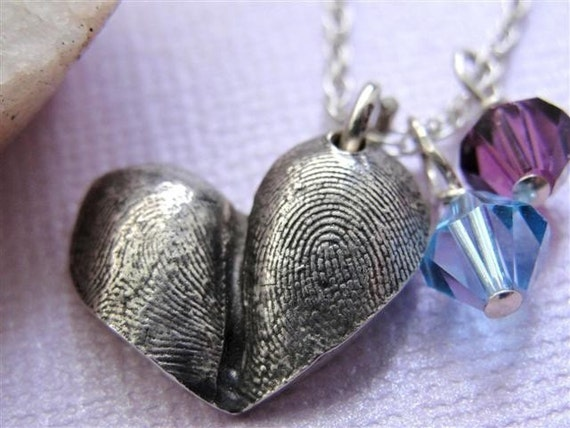 Fingerprint Heart Jewelry Necklace Personalized Thumbprint