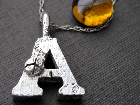 Sterling Silver Thick Peace Sign Letter A Initial Necklace