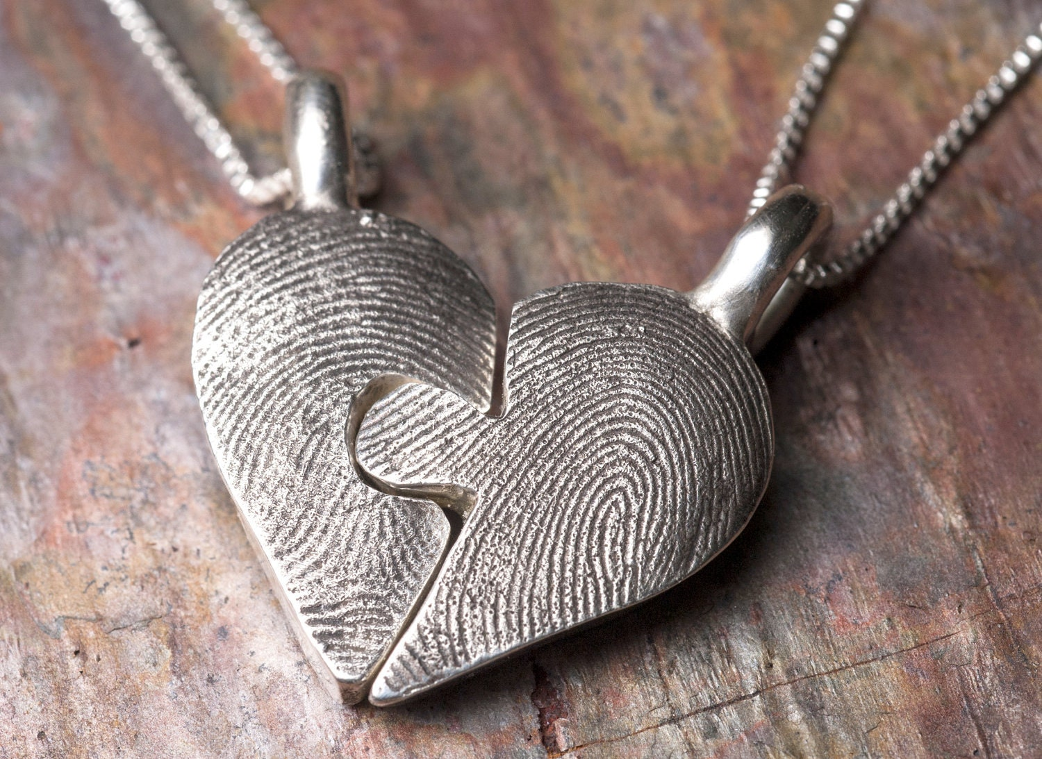 custom fingerprint puzzle necklace piece in sterling silver