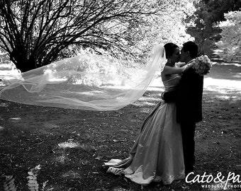 READY TO SHIP 1 Tier Ivory Chapel Bridal Wedding Veil with a Ribbon Edge