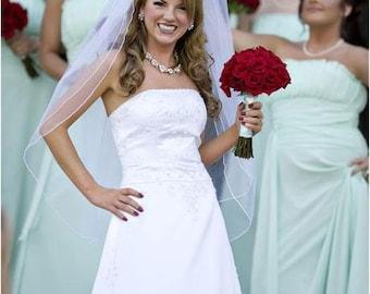 Custom Handmade 1, or 2 Tier Fingertip Bridal Wedding Veil Starting At Only 29.99