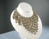 Vintage Bib 40s Necklace Silver Tone Necklace