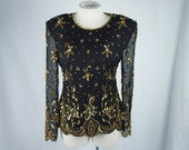 Trophy Sequin Beaded Black Silk 80s Blouse Top Clothing