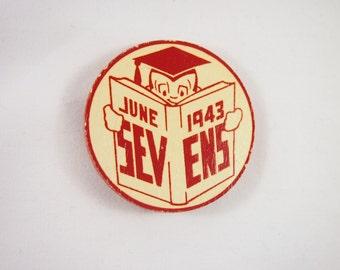 Vintage 40s June 1943 Wood Pinback Graduate Button Brooch Jewelry