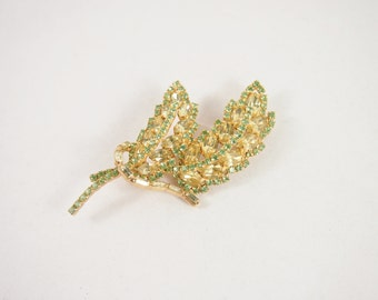 Green and Yellow Leaf Rhinestone 50s Brooch Vintage Jewelry