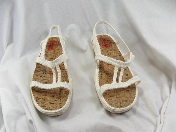 vintage 80s white sandak plastic sandals by jenniesjunque