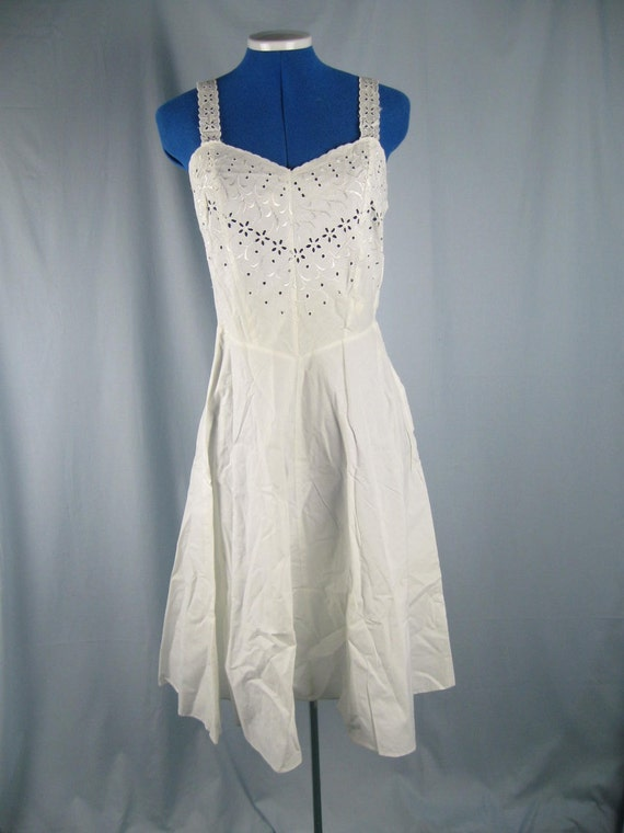 Vintage 40s Cotton Eyelet Lace Slip Dress Clothing