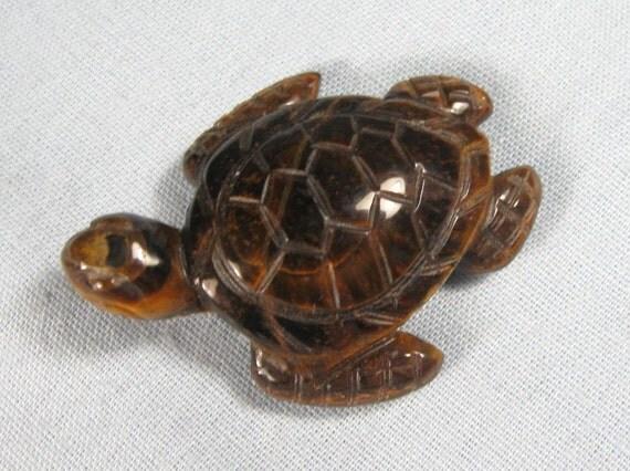Vintage 80s Tiger Eye Carved Stone Tortoise Figurine