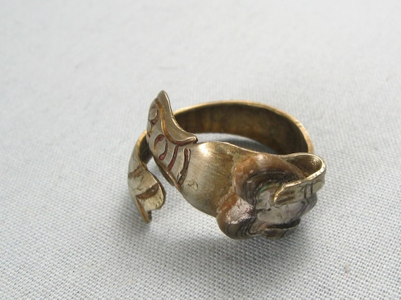 Vintage 70s Mermaid Abalone Heart Band Ring Jewelry