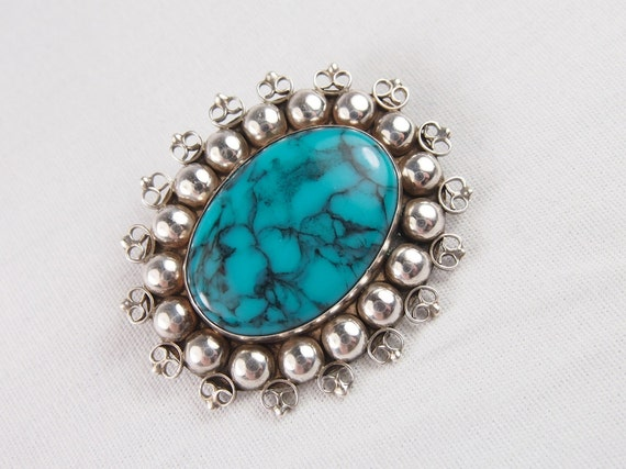 Vintage 70s Sterling Silver Faux Turquoise Brooch Jewelry