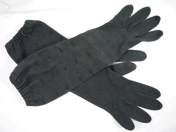 Vintage 60s Van Raalte Black Long Cotton Gloves