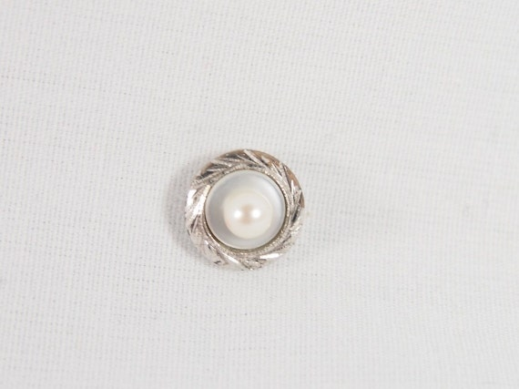 Vintage 50s 60s Sterling Silver Tie Tack Lapel Pin Brooch With a Real Pearl Jewelry