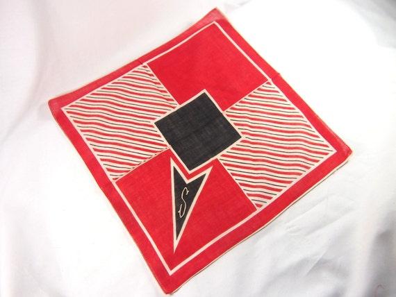 Vintage 40s Hankie Monogram S Bold Geometric Print Handkerchief