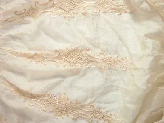 Antique Victorian Ivory Silk Blouse Clothing With Hand Done Eyelet Lace As Is