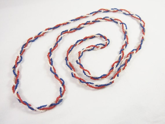 Vintage 60s Hippie Boho Red White and Blue Patriotic Necklace Jewelry