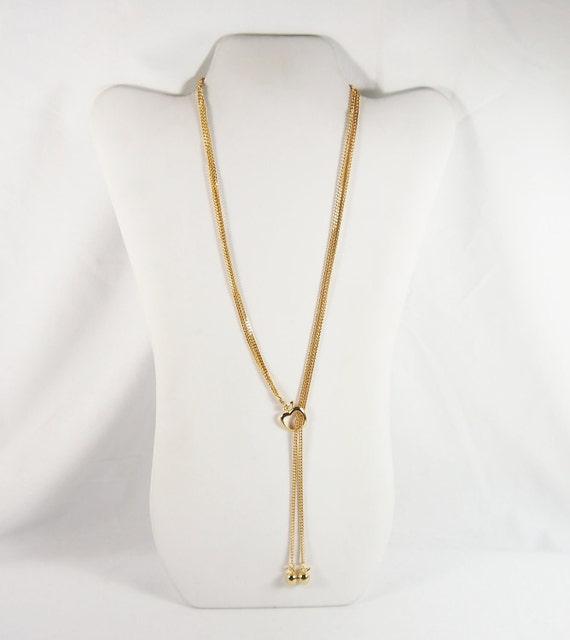 Vintage 70s Apple Teacher Lariat Necklace Jewelry