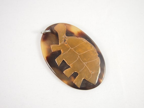 Carved 50s Tortoise Shell Pendant Vintage Jewelry