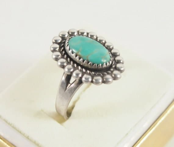 Bell Sterling Turquoise 60s Ring sz 8 Vintage Jewelry