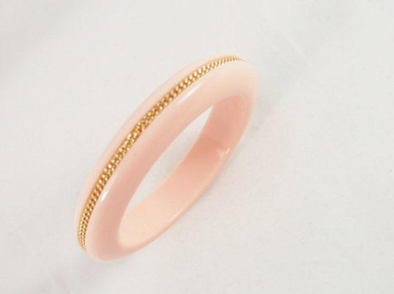 Peachy Pink 60s Plastic Bangle Bracelet Vintage Jewelry