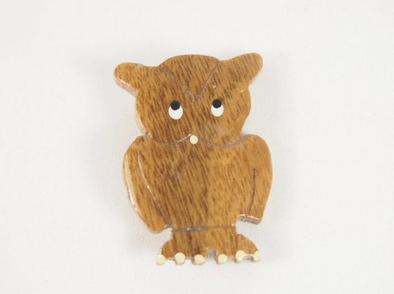 Wood Painted Owl 50s Brooch Vintage Jewelry