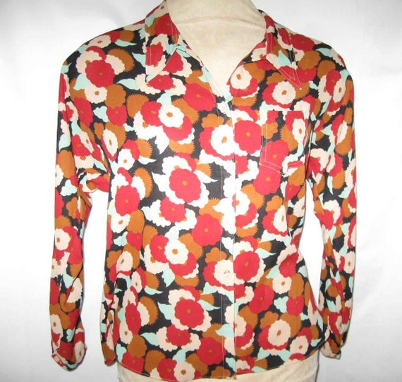 Vintage Mod Print Disco Shirt 70s Blouse Top Clothing