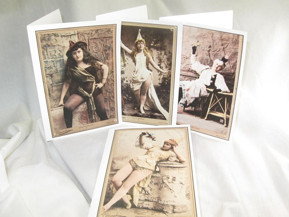 Pretty Lady Box Set of 4 Antique Drama Queen Print Cards W/ Envelopes