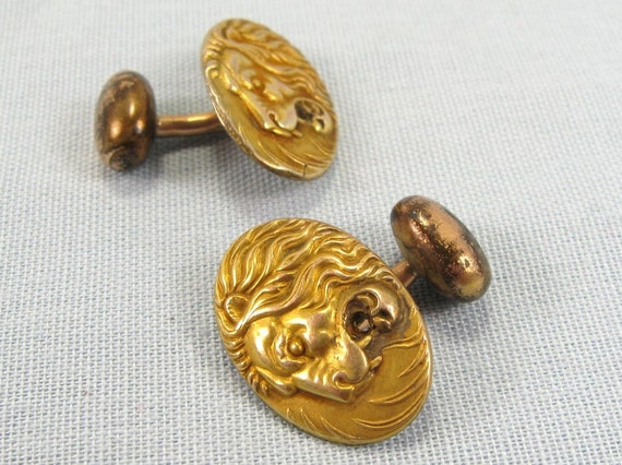 Antique Victorian Repousse Lion Head Cuff Button Links Jewelry