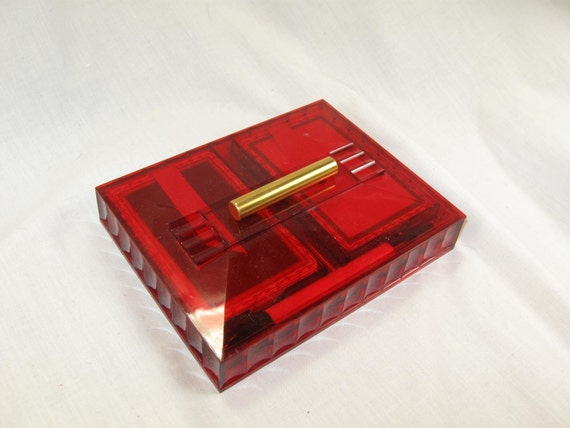 vintage 50s 60s bridge playing card pencil and red lucite box