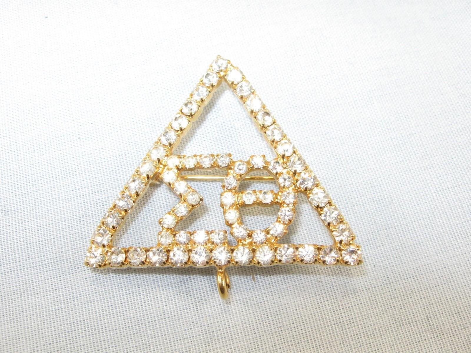 Vintage 60s rhinestone delta sigma theta sorority pin brooch for Delta sigma theta jewelry