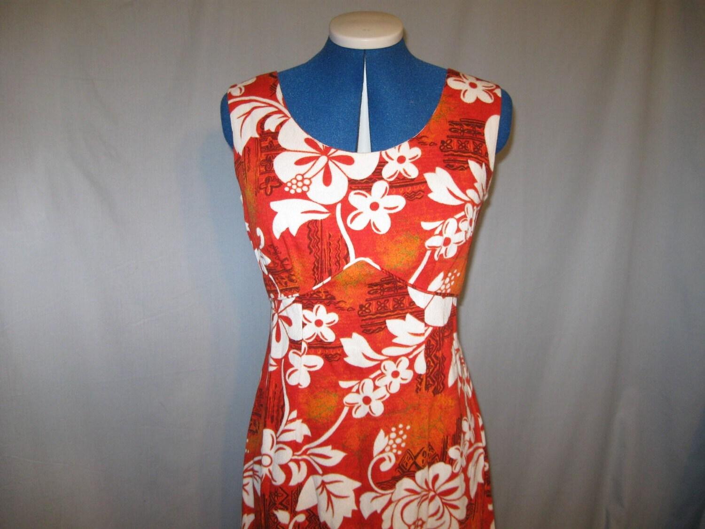 vintage 60s barkcloth royal hawaiian cotton dress clothing