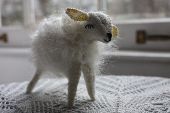 Little white sheep- custom wool animal