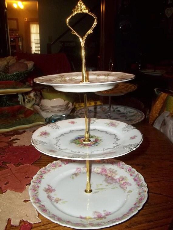 recycled 3 tier vintage plates serving tray crudites party. Black Bedroom Furniture Sets. Home Design Ideas
