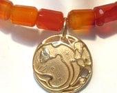Orange Carnelian and 14k Gold Flower Necklace