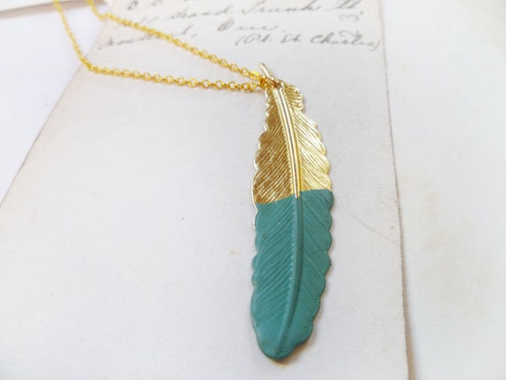 Hand Dipped Brass Feather Necklace In Teal